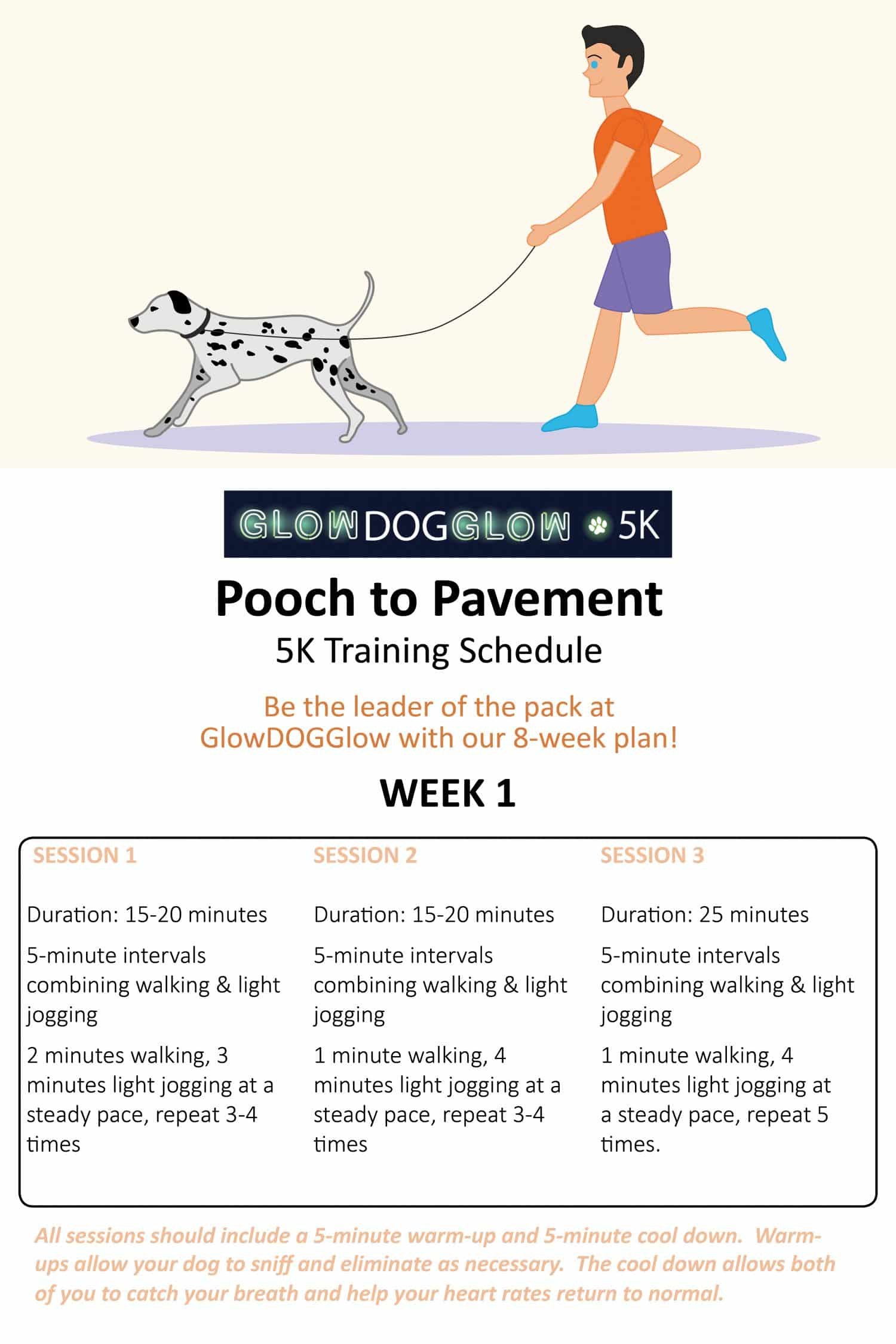 Pooch to Pavement Canine Running Training Plan NOVADog Magazine Glow Dog Glow 5K Race