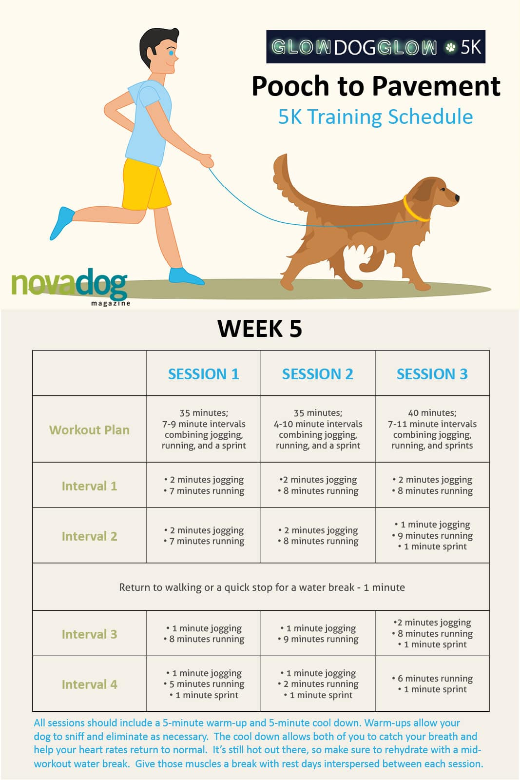 Canine Training Calendar Running with Dog